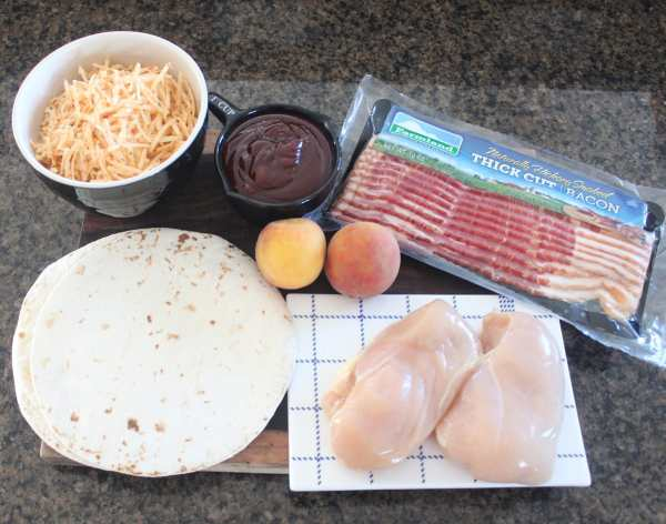 BBQ Chicken Peach Bacon Cheddar Quesadilla Ingredients