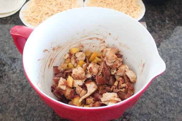 Peach Bacon BBQ Chicken Quesadilla Recipe