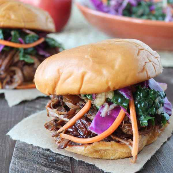 Chipotle Apple BBQ Brisket Sandwich with Kale Apple Slaw