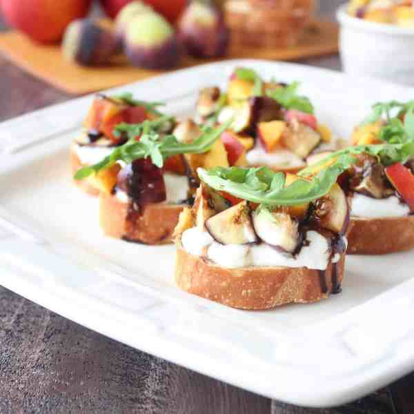 Fig Nectarine Burrata Bruschetta