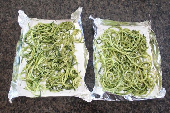 Pesto Baked Salmon with Zucchini Noodle Foil Dinner Recipe