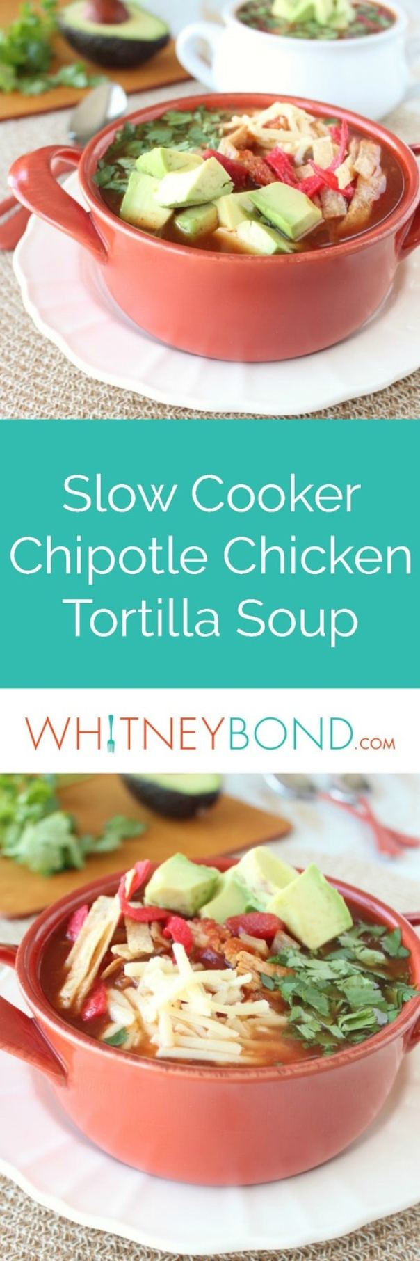 This slow cooker chicken tortilla soup recipe is given a smokey, spicy kick with the addition of chipotle peppers, it's simple, healthy & gluten free!