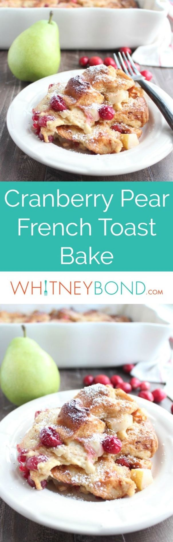 Fresh cranberries and pears add a tart, sweet burst of flavor to this deliciously simple french toast bake recipe, that's perfect for breakfast or brunch!