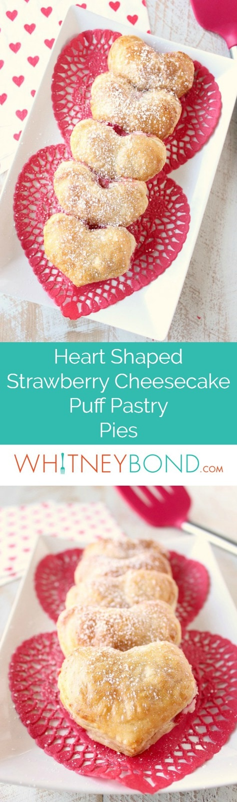 Strawberry cheesecake filling is wrapped up in heart shaped puff pastry dough in this mini strawberry cheesecake pie recipe, perfect for Valentine's Day!