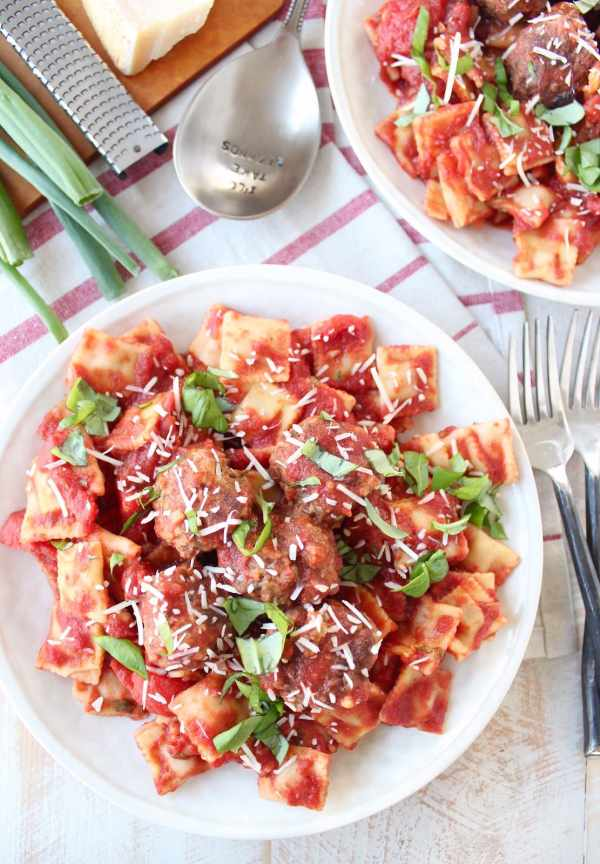 Slow Cooker Italian Meatballs, Marinara & Mini Raviolis
