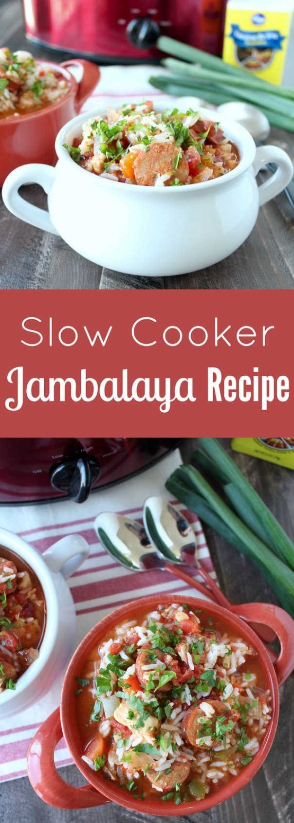 This easy, toss everything in the crock pot, Jambalaya recipe is filled with delicious spices, veggies, chicken and sausage!