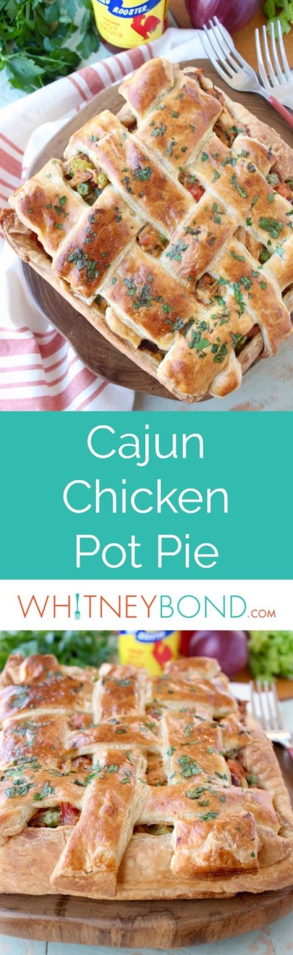 This seriously scrumptious Cajun Chicken Pot Pie Recipe is a slightly spicy and totally delicious twist on traditional chicken pot pie!