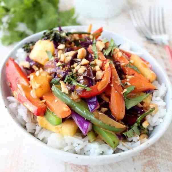 Thai Peanut Pineapple Veggie Rice Bowl