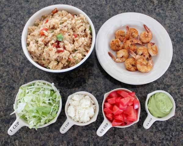Shrimp & Rice Taco Salad Ingredients