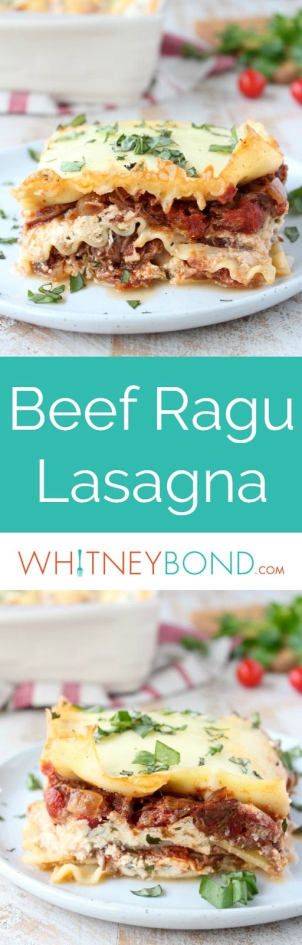 Simple slow cooked beef ragu is layered with creamy ricotta cheese, lasagna noodles and mozzarella cheese in the most delicious lasagna recipe ever!