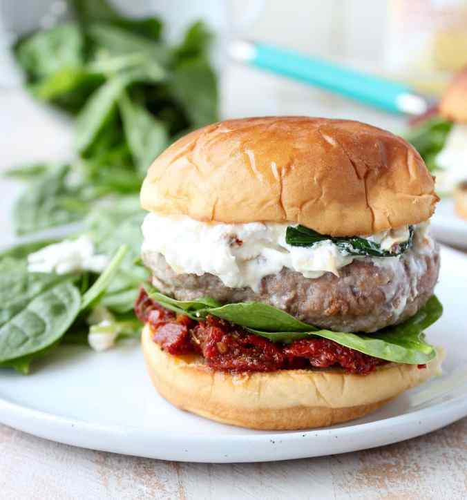 Healthy Spinach Artichoke Dip Turkey Burgers