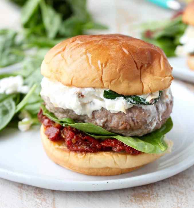 Spinach Artichoke Turkey Burgers