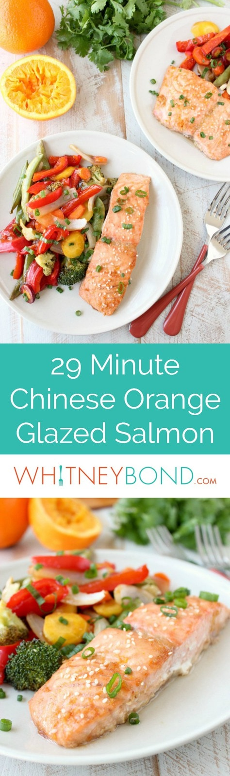 An easy Chinese orange sauce is prepared & brushed over Orange Glazed Salmon and colorful vegetables in this healthy, simple, 29 minute foil dinner recipe!