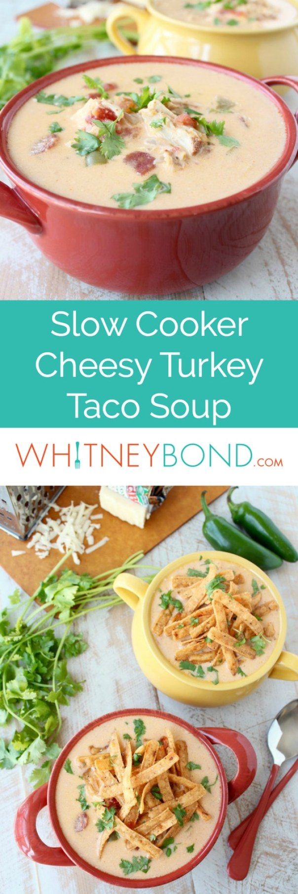 Slow Cooker Cheesy Turkey Taco Soup Recipe