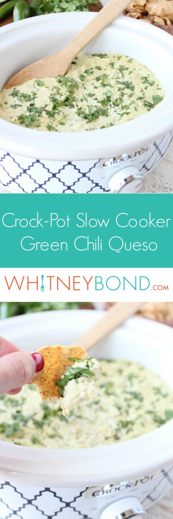 Slow Cooker Green Chili Queso Dip Recipe