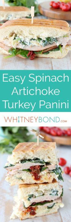 A deliciously creamy spinach artichoke dip is spread on thick, crusty ciabatta bread in this scrumptious, and simple, Turkey Panini recipe.