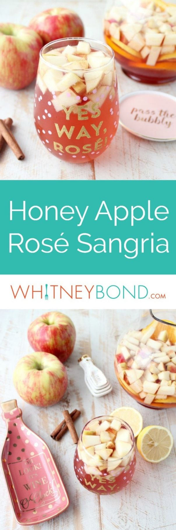 Fall flavors are combined with sparkling rosé in this delicious Honey Apple Sangria Recipe, perfect for holiday parties or a fun girls night in!