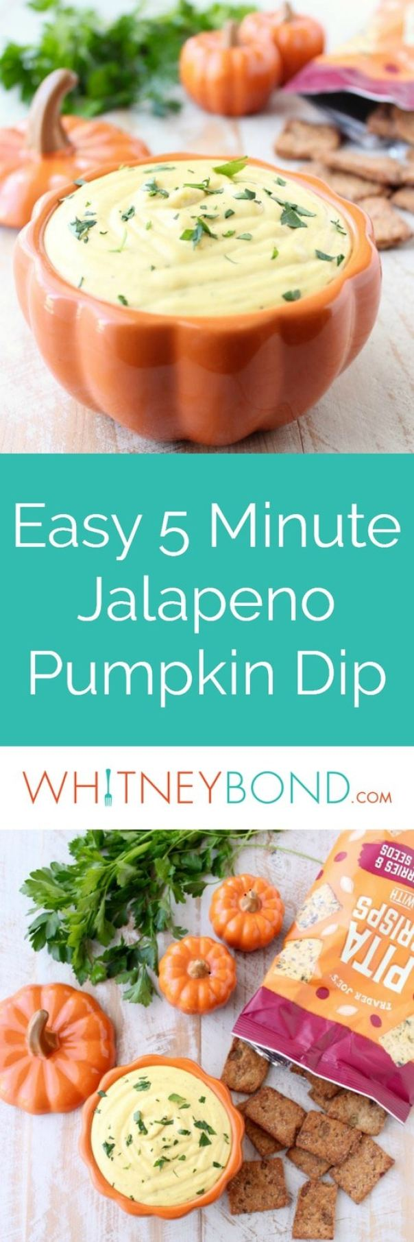 This creamy, sweet and spicy Jalapeno Pumpkin Dip recipe is an easy 5 minute appetizer that's vegetarian, gluten free and perfect for parties!