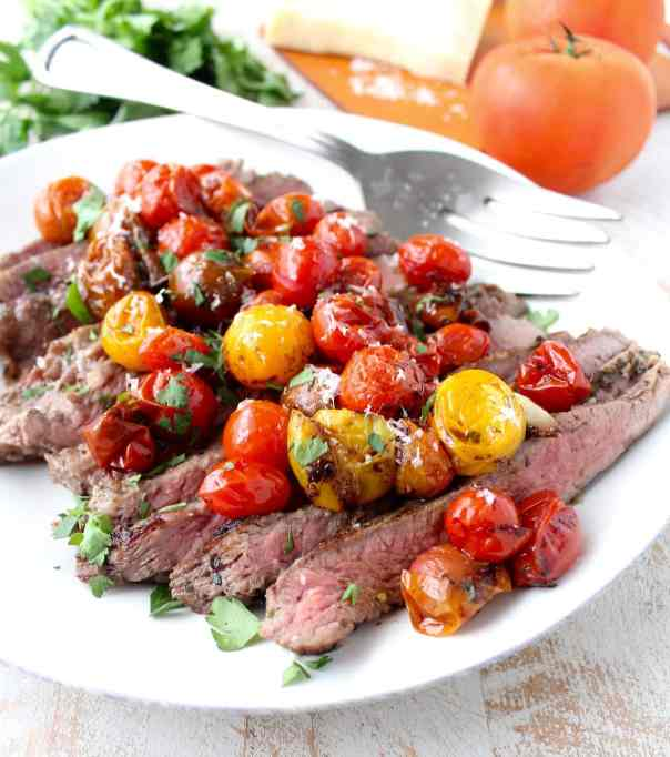 Italian Flank Steak with Roasted Cherry Tomatoes