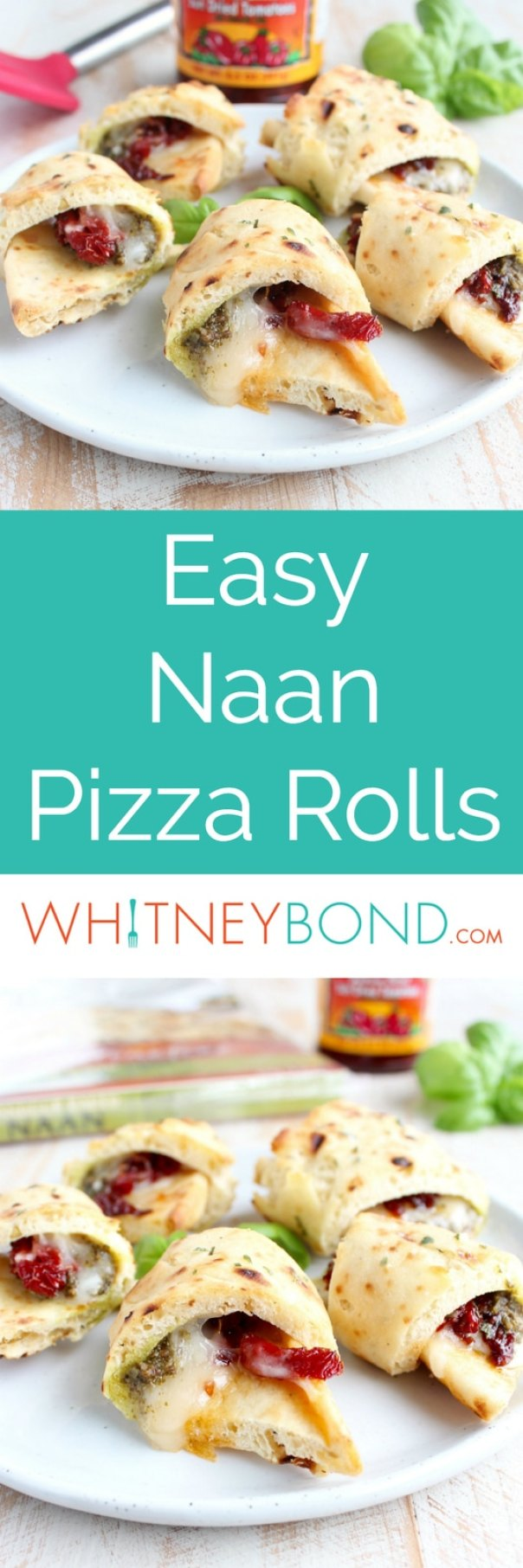 Mozzarella, sun dried tomatoes and basil pesto are wrapped up in garlic naan and baked into delicious pizza rolls, perfect for a party appetizer or snack!