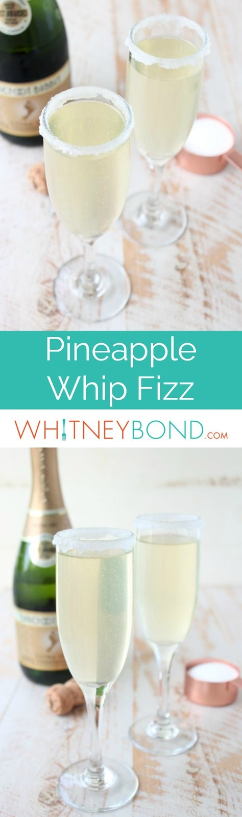 Disney's famous Pineapple Whip is turned into a delicious fizz cocktail in this simple 3-ingredient drink recipe, perfect for any special occasion!