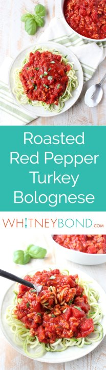 Roasted red peppers add a delicious flavor to this Turkey Bolognese recipe that's only 272 calories per serving, yet packs in 31 grams of protein per serving for a lean & healthy meal served with zucchini noodles or roasted spaghetti squash!
