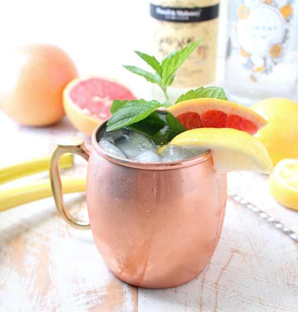 This delicious twist on a gin mule combines tart grapefruit juice with sweet sparkling wine for a refreshing cocktail that's also so easy to make!