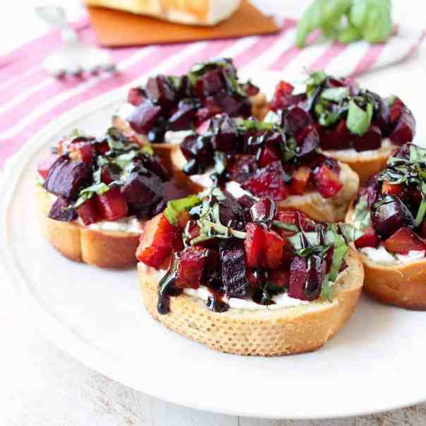 Beet Bruschetta with Goat Cheese