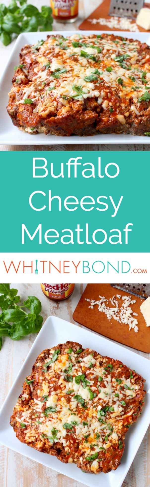 Buffalo sauce, ground beef, pork sausage and two cheeses are combined in this delicious, easy Buffalo Cheesy Meatloaf recipe!