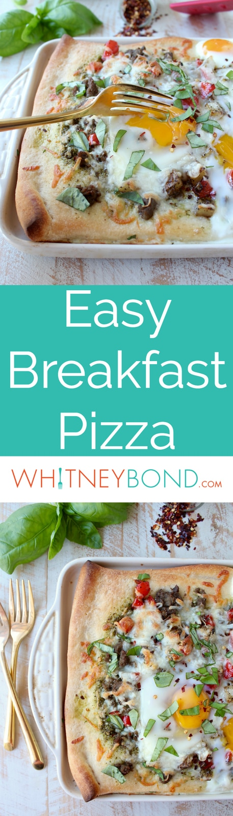 Crispy pizza crust, flavorful turkey sausage, sautéed veggies, baked eggs & parmesan cheese make up this deliciously easy breakfast pizza recipe!