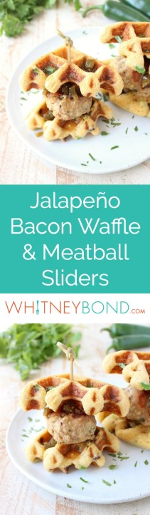 Jalapeño Honey Chicken & Pork Meatballs are sandwiched between Jalapeño Bacon Cornbread Waffles in this delicious recipe for Meatball Sliders, putting a new, fun twist on chicken & waffles!