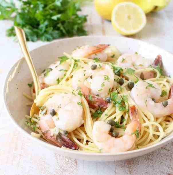 One Pot Shrimp Piccata Pasta