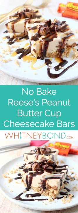 No bake cheesecake bars are a deliciously easy dessert, made with Reese's Peanut Butter Cups, they're filled with chocolate, peanut butter goodness!