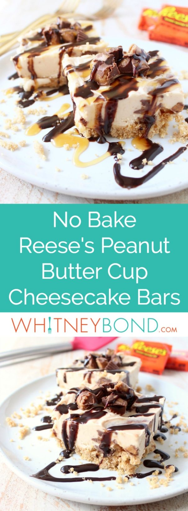 No Bake Cheesecake Bars with Reese's Peanut Butter Cup