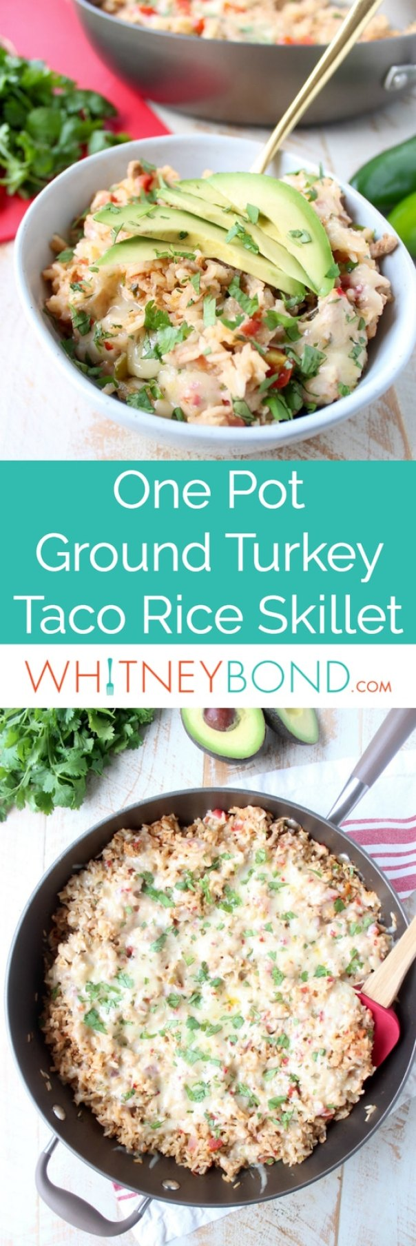 This One Pot Taco Rice Skillet recipe combines ground turkey, rice, veggies, spices & cheese for a quick and easy weeknight dinner that is so delicious!