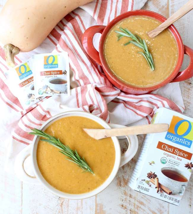 Chai Spiced Butternut Squash Soup is a delicious vegan & gluten free recipe made in under 45 minutes, that's perfect for staying healthy during cold & flu season!