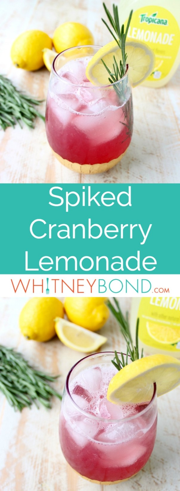 Spiked Cranberry Lemonade is an easy 3 ingredient cocktail that's perfect for sipping on anytime of the year, it's light, refreshing and flavorful!