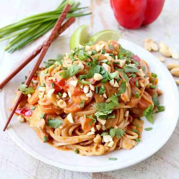 Slow Cooker Thai Peanut Chicken Noodles