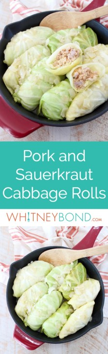 These German inspired Cabbage Rolls are filled with ground pork and sauerkraut, then simmered in a garlic onion broth for an amazingly flavorful recipe!