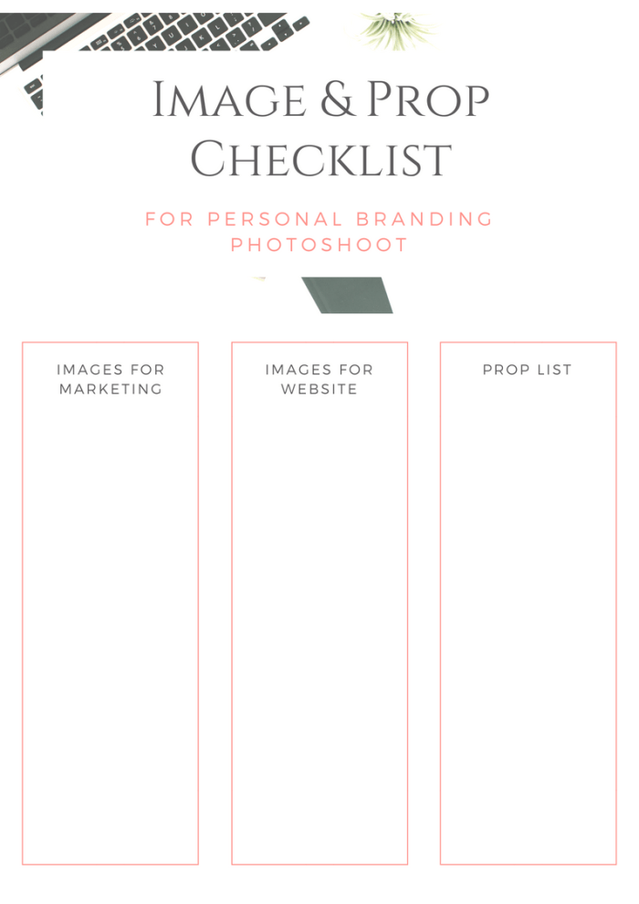 Image & Prop Checklist for Personal Branding Photoshoot Free Printable