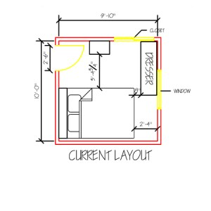 Current layout of small, shared bedroom