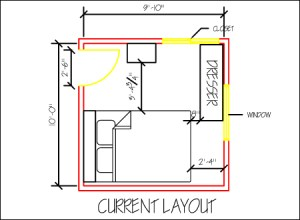 Current layout of a small, shared bedroom