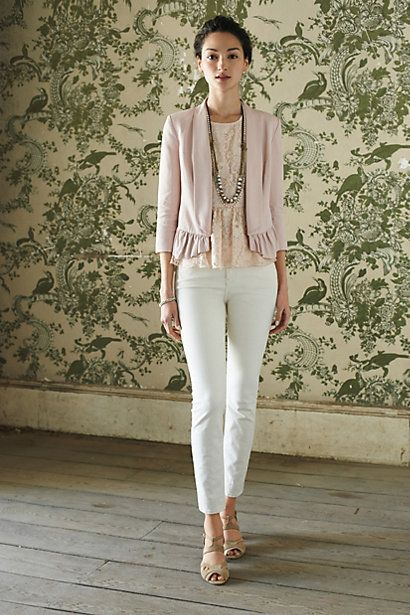 Anthropologie Pink Blouse and White Pants with Green and White Bird Wallpaper in the Background