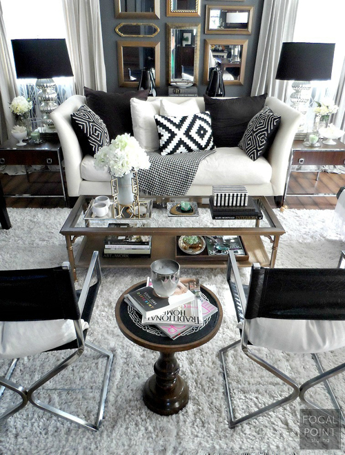 BLACK & WHITE LIVING ROOM LYNDA QUINTERO-DAVIDS FOCAL POINT STYLING  (1) 757