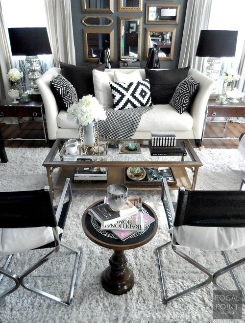 BLACK & WHITE LIVING ROOM LYNDA QUINTERO-DAVIDS FOCAL POINT STYLING  (1) 757