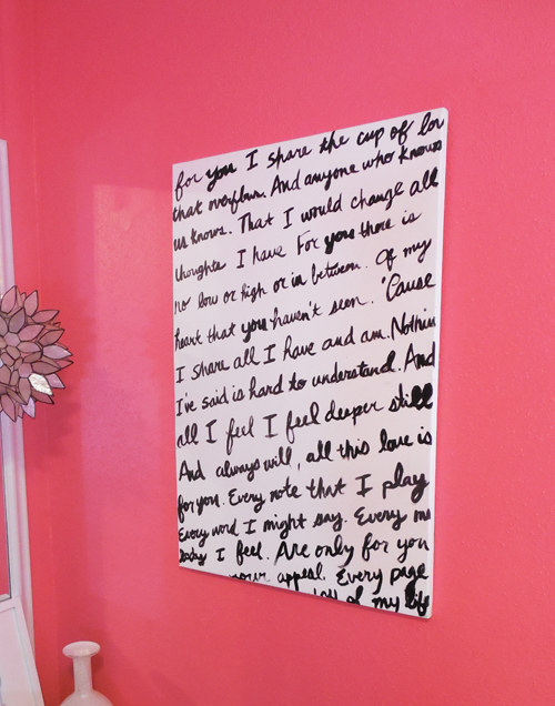 I love how the black and white pops on the pink wall.