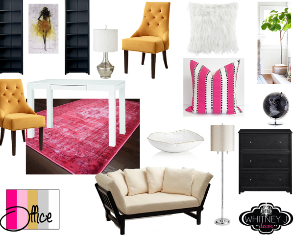 pink glam home office