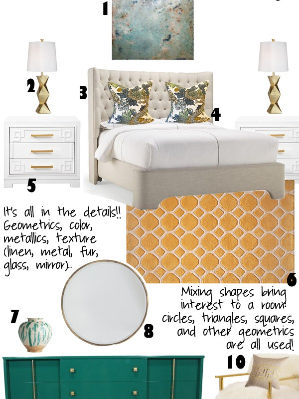 yellow, turquoise, gold, & white bedroom design board