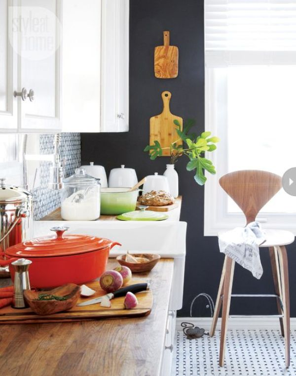 black accent walls in the kitchen