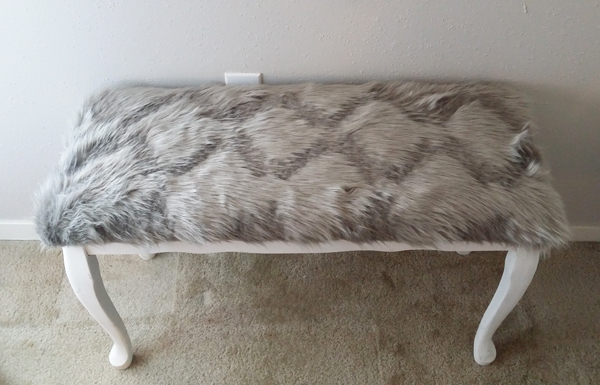 diy bench with gray fur